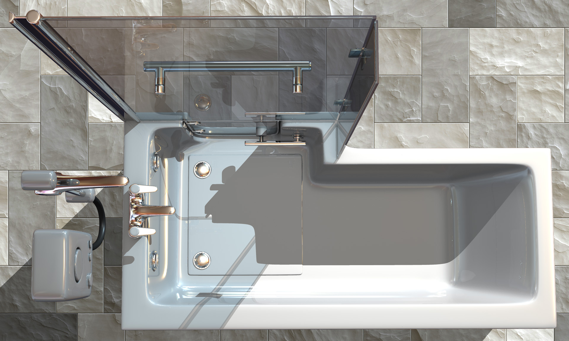 bathroom and fittings for care home and assisted living CGI image