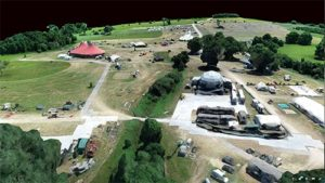 aerial drone scan of building site