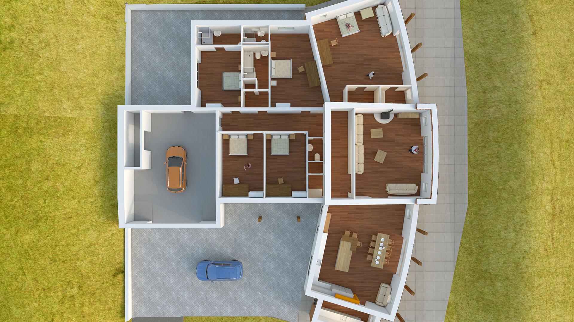 Architectural CGI visualisation image plan view