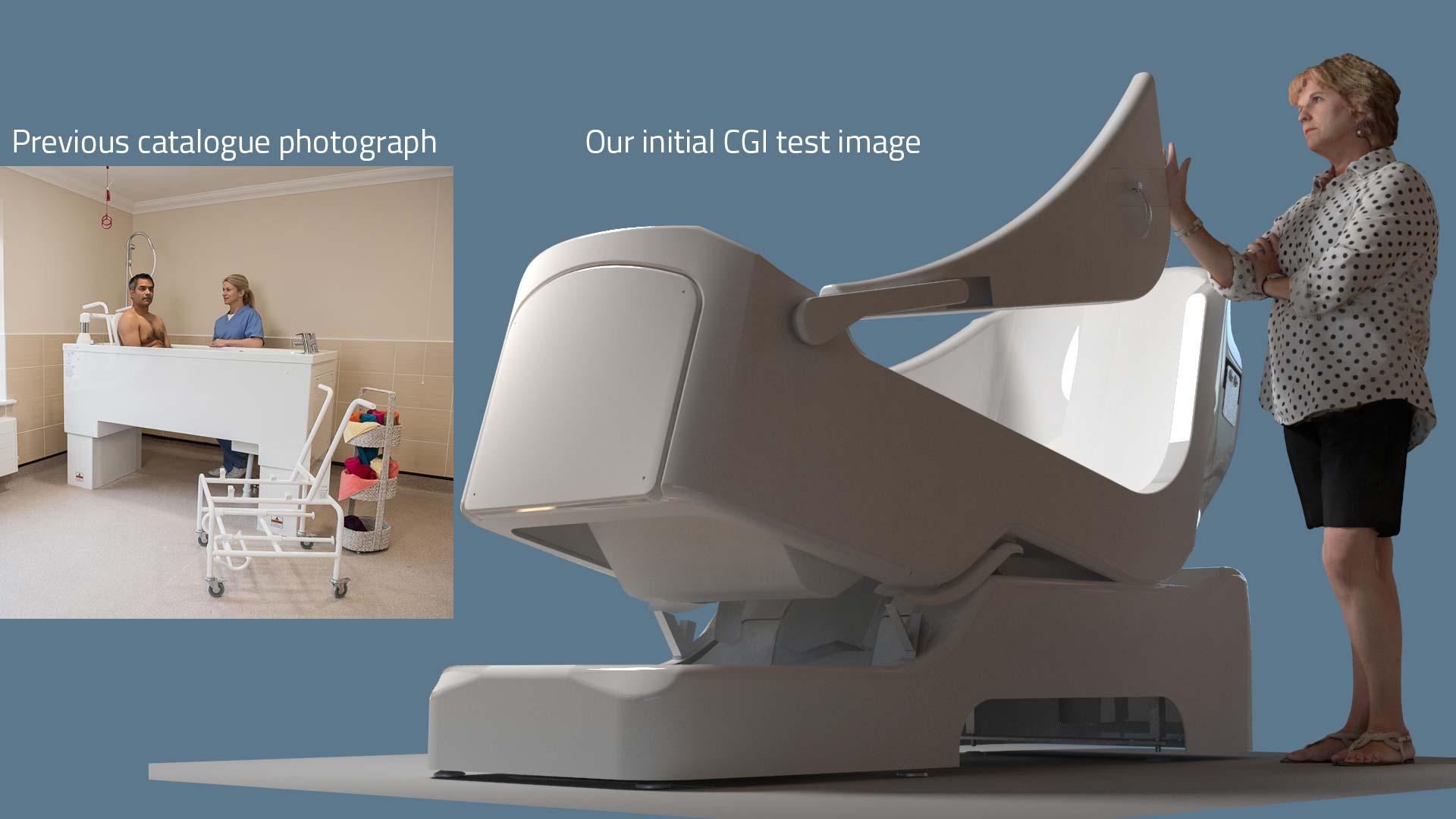 mobility bathing catalogue image CGI