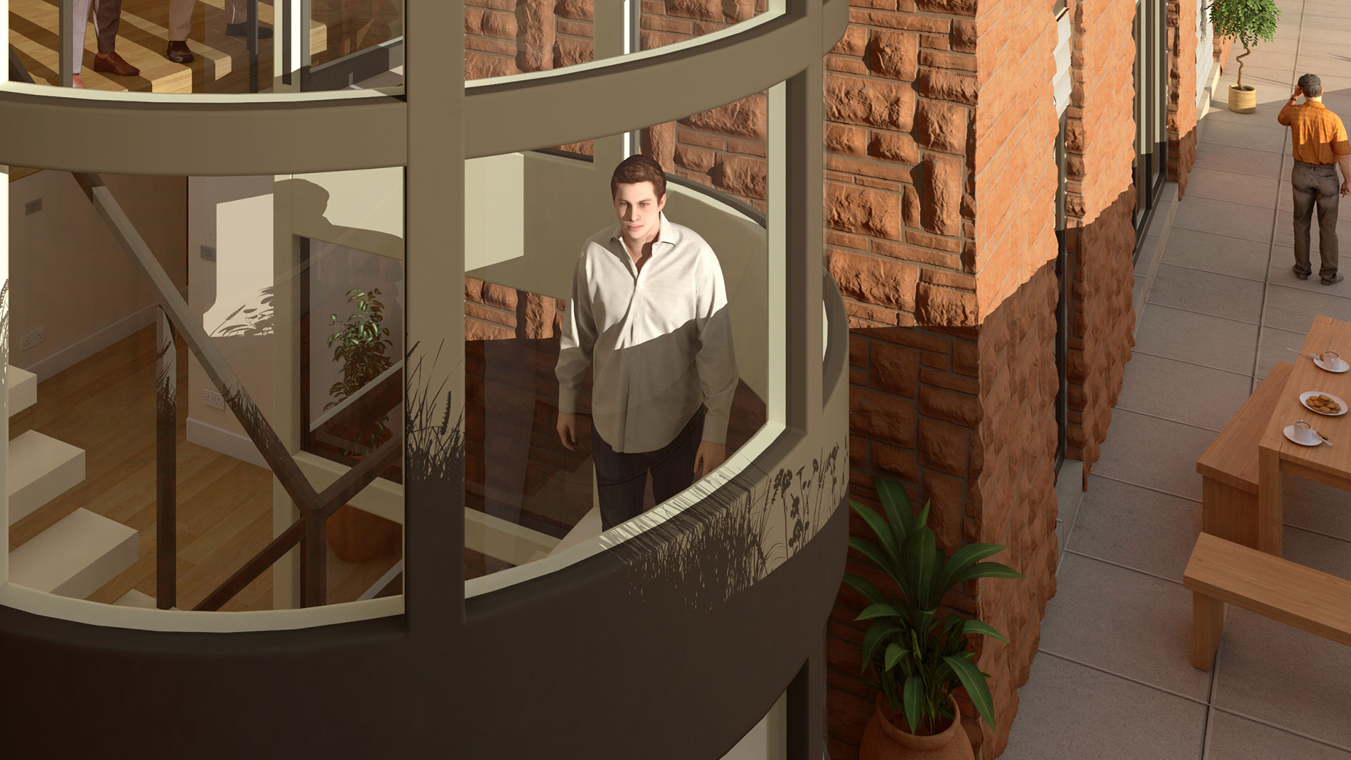 Architectural CGI visualisation staircase view