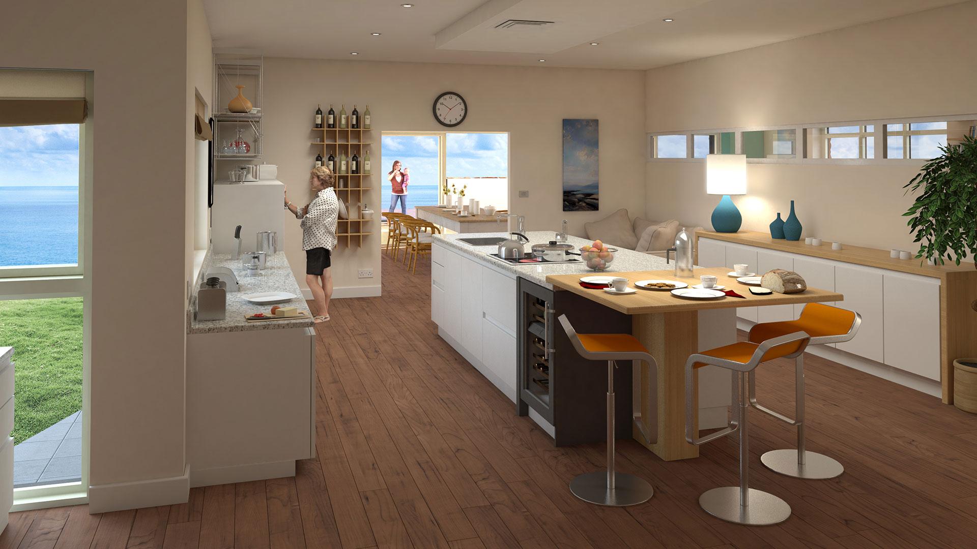 Architectural CGI visualisation image kitchen view