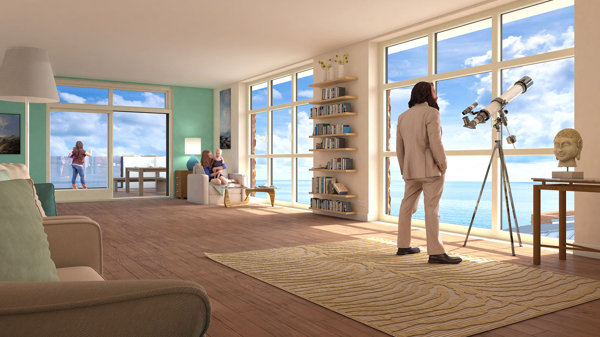 Architectural CGI visualisation image living room view