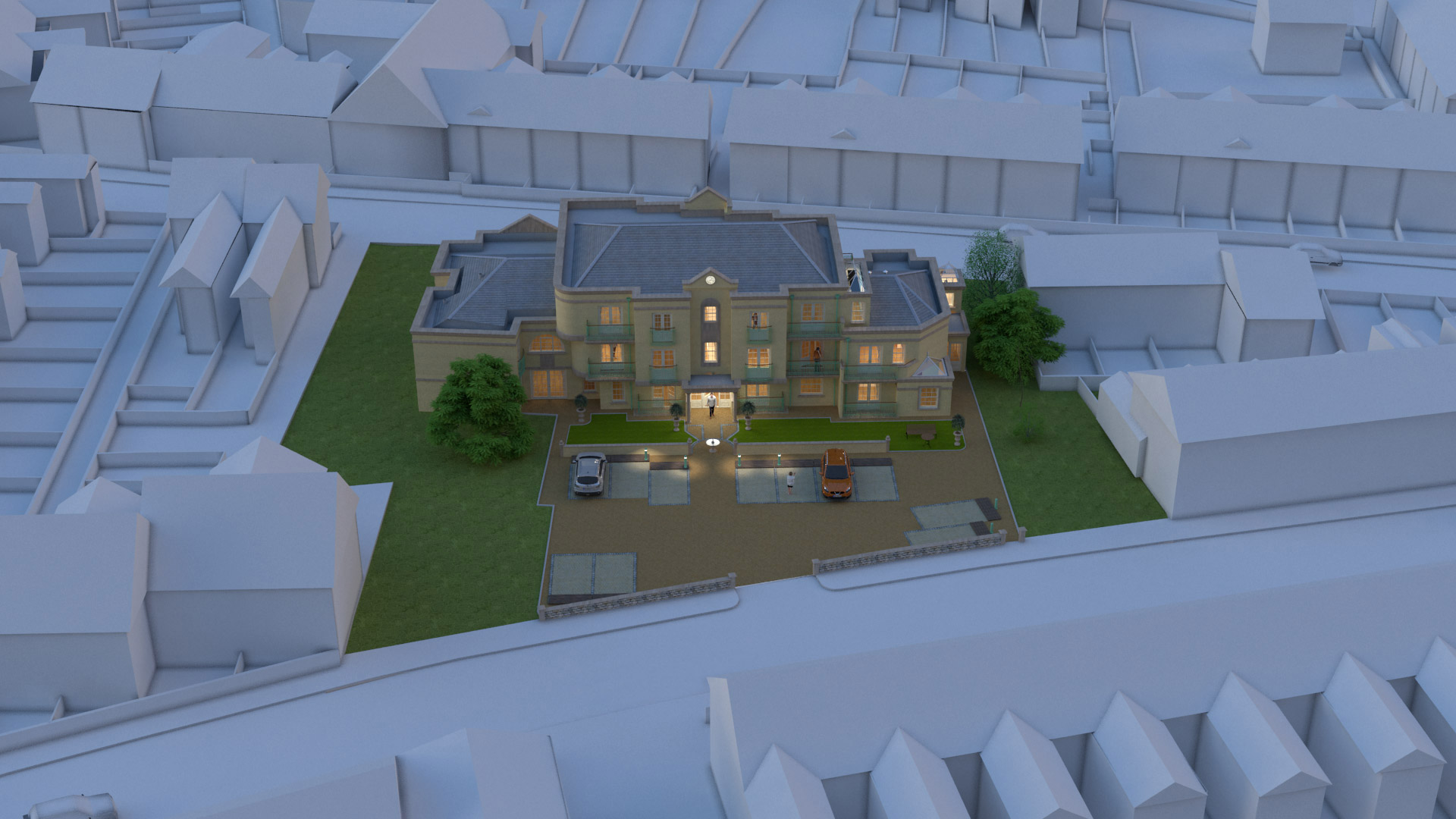 CGI aerial image of an apartment building for marketing