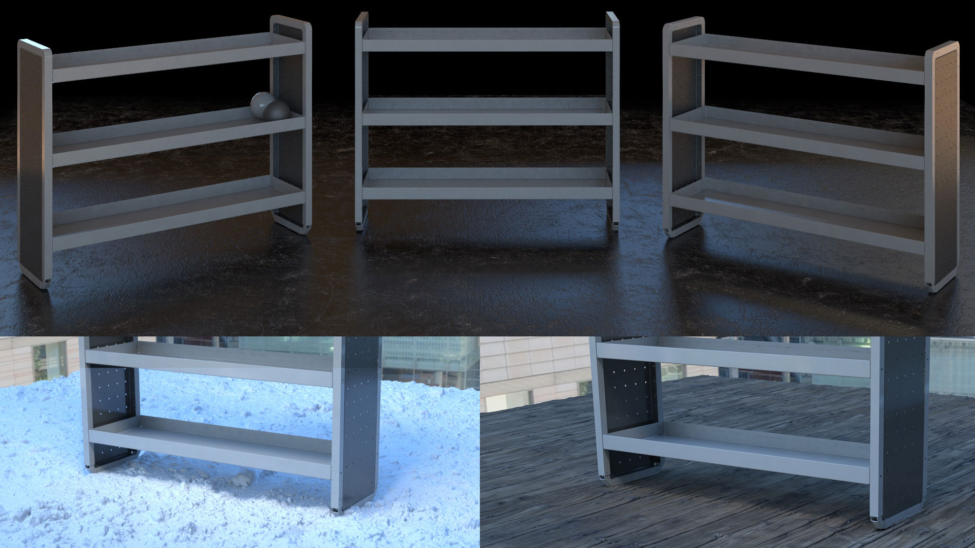 shelving products in different CGI photo shoots