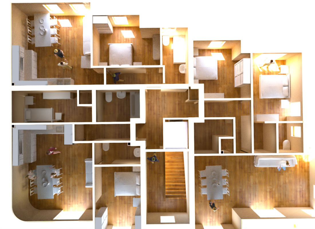 CGI dolls house plan view of a house