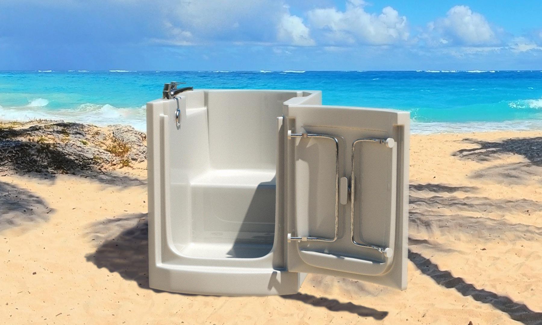 bath in a beach location product CGI shot
