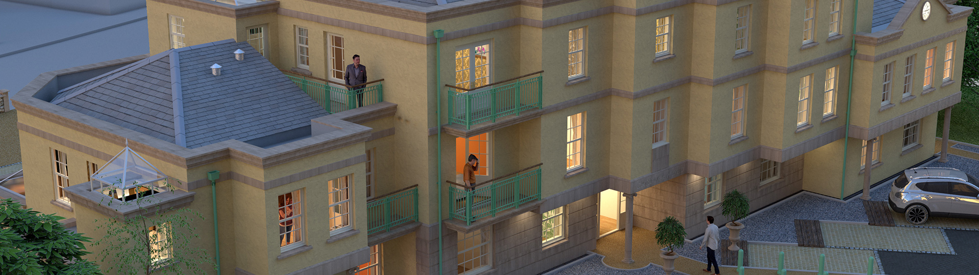 Architectural 3d Visualization of apartment block