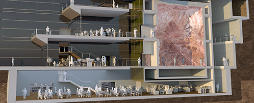 Cross section architectural visualisation image of building project