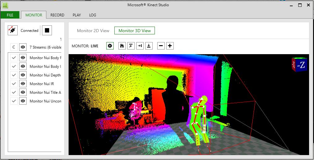 microsoft kinect screen shot