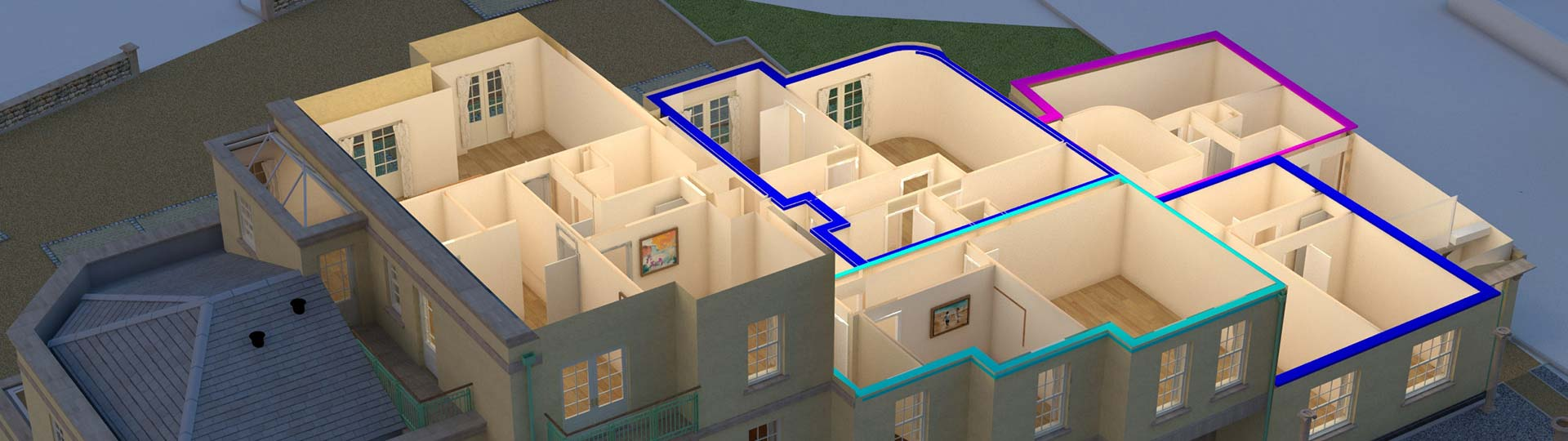 architectural visualisation plan view of apartment block