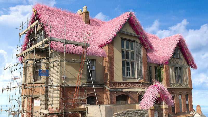 Westward Ho! haunted house with pink furry roof