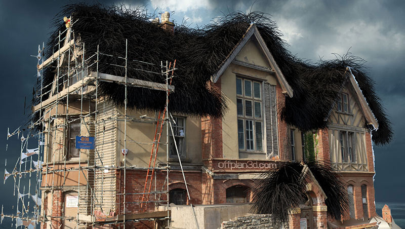 Westward Ho! haunted house with black furry roof