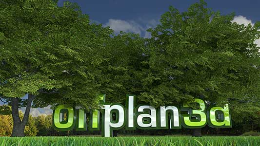 CGI landscaping render with trees