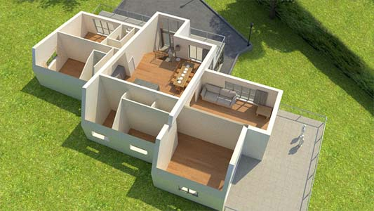 3d house render with roof removed
