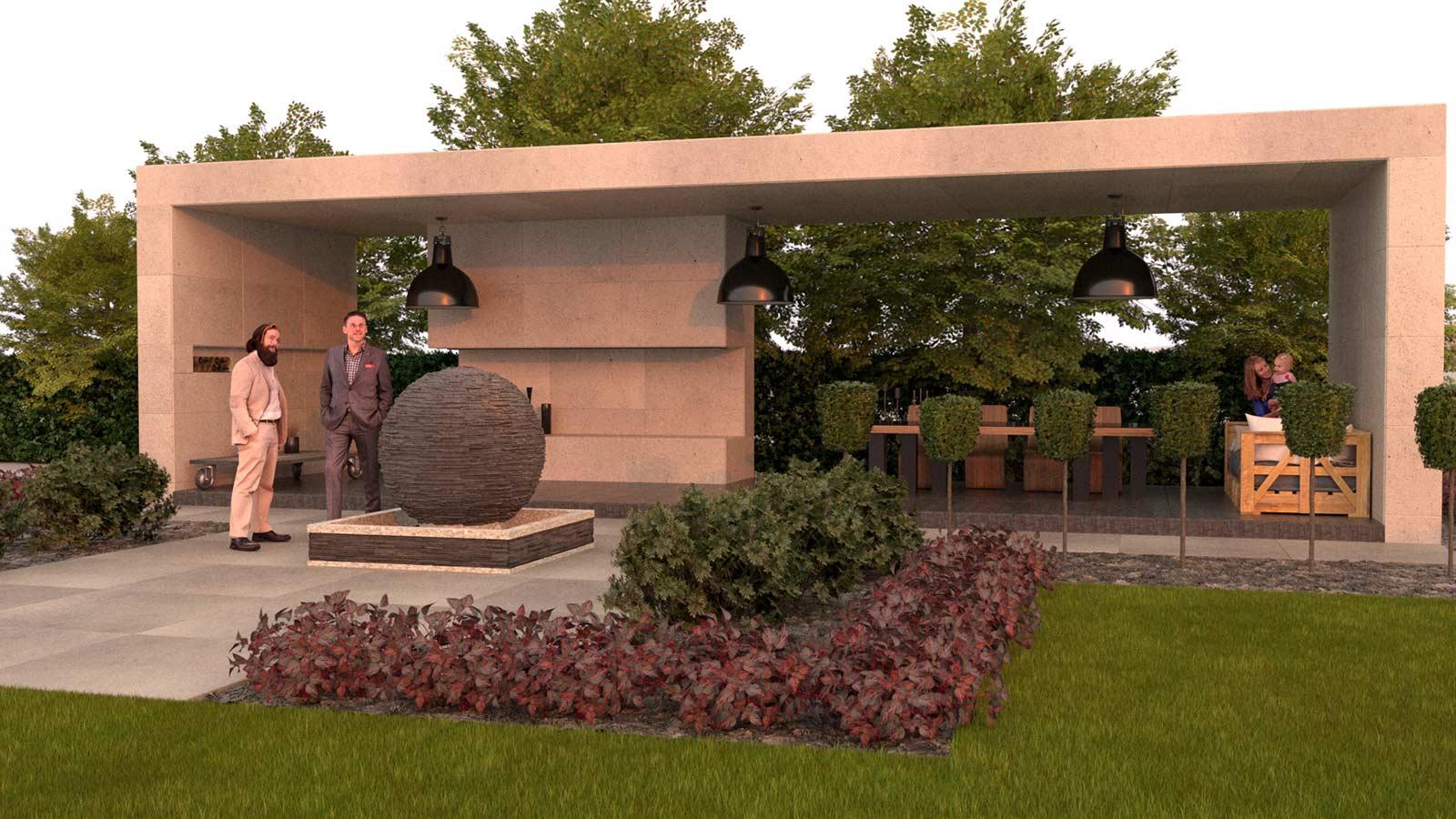 landscape architecture 3d render of garden